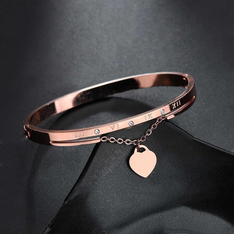 ホット高級ローズゴールドステンレス鋼ブレスレット腕輪女性ハート結婚式の愛のブランド女性のための有名なジュエリー