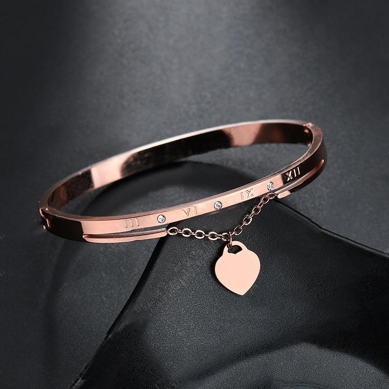 Hot Luxury Rose Gold Stainless Steel Bracelets Bangles Female Heart Wedding Love Brand Charm Bracelet for Women Famous Jewelry(China)