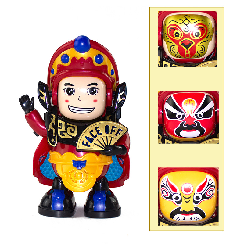 Electric Dancing Face Robot Plastic-Large Size Will Luminous Band Music Sichuan Opera Face CHILDREN'S Toy