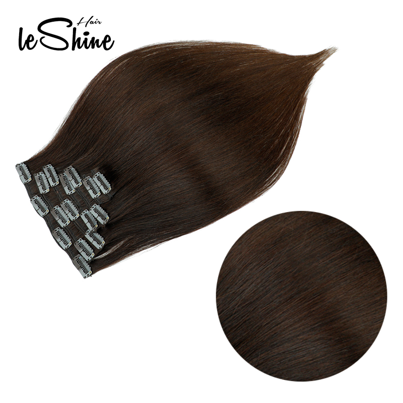 Leshine Double Drawn Remy Clip In On Human Hair Extensions 14''16'18' 7pcs 16 Clips Natural Straight Clip Ins Fast Deliver