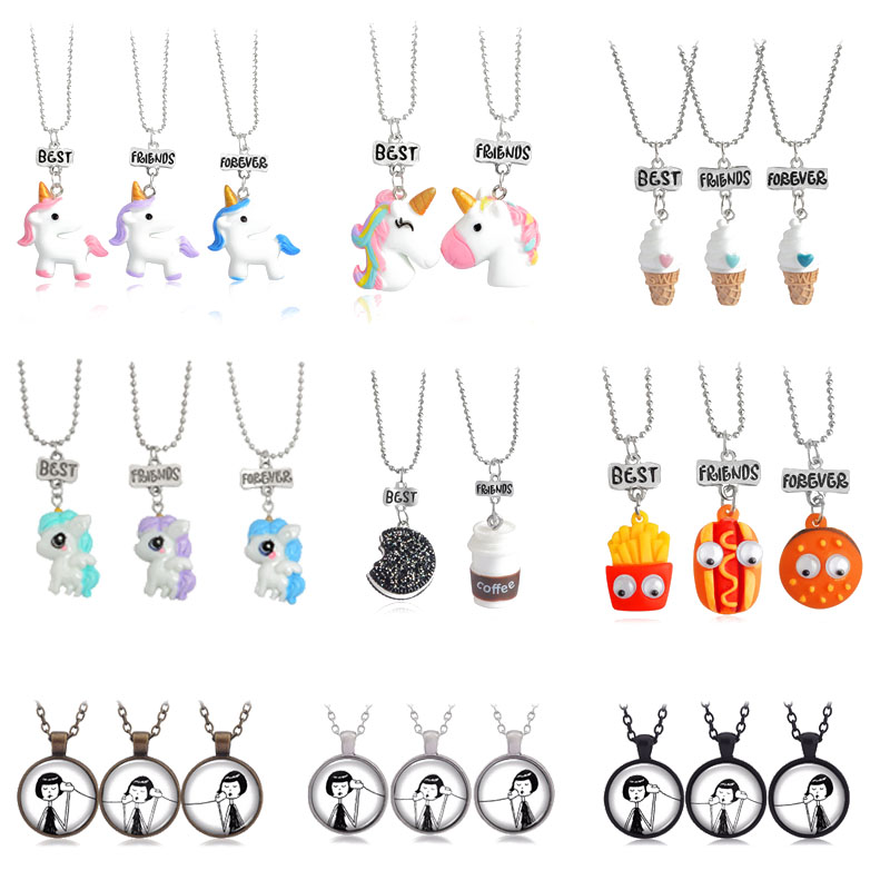 2020 New 3 pcs / set of Best Friends Cute Resin Pendant Necklace Ladies Women Unicorn Milk Biscuit Necklace BFF Couple Jewelry