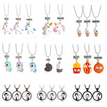 2020 New 3 pcs / set of Best Friends Cute Resin Pendant Necklace Ladies Women Unicorn Milk Biscuit Necklace BFF Couple Jewelry(China)