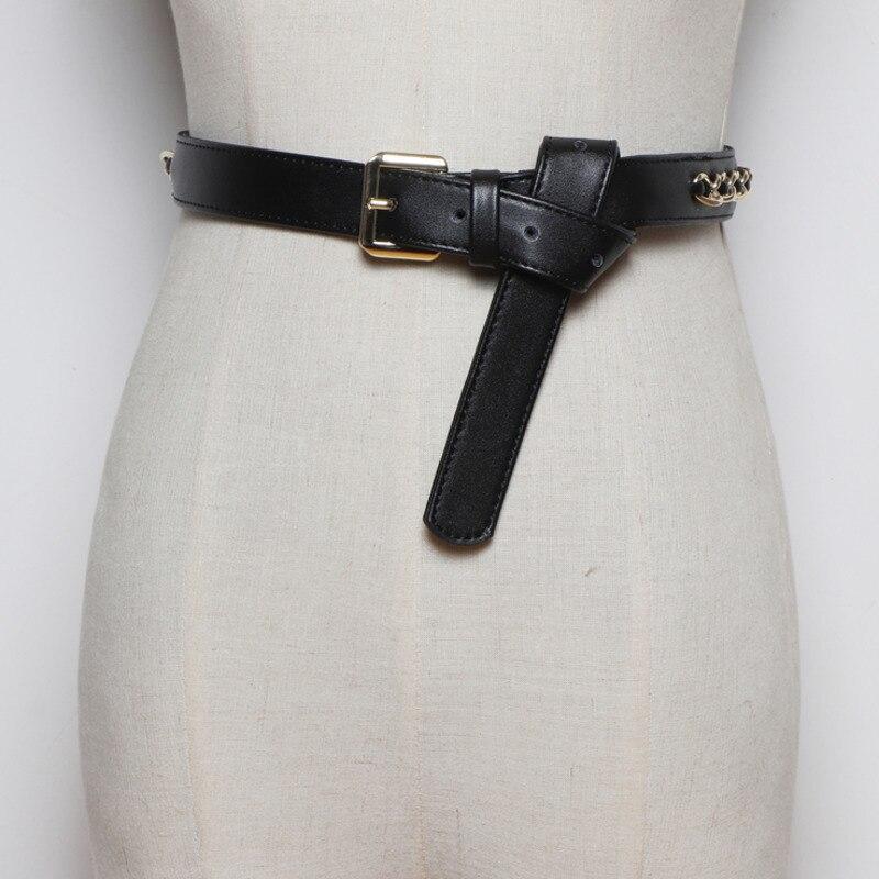 2020 New Design Fashion Leather Chain Wide Belts For Women Hot Sale Stylish Corset Belt All-match Tide Waistband Female ZL118