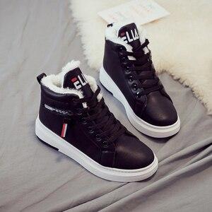Women Sneakers Fashion PU Women Shoes Flats Platform Casual shoes For Women Increase Winter Shoes Warm Plush Off White Shoes