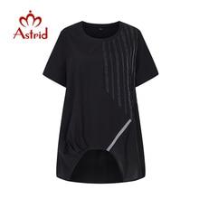 Astrid 2020 summer t shirt patchwork Black Striped vintage tops Hollow oversized