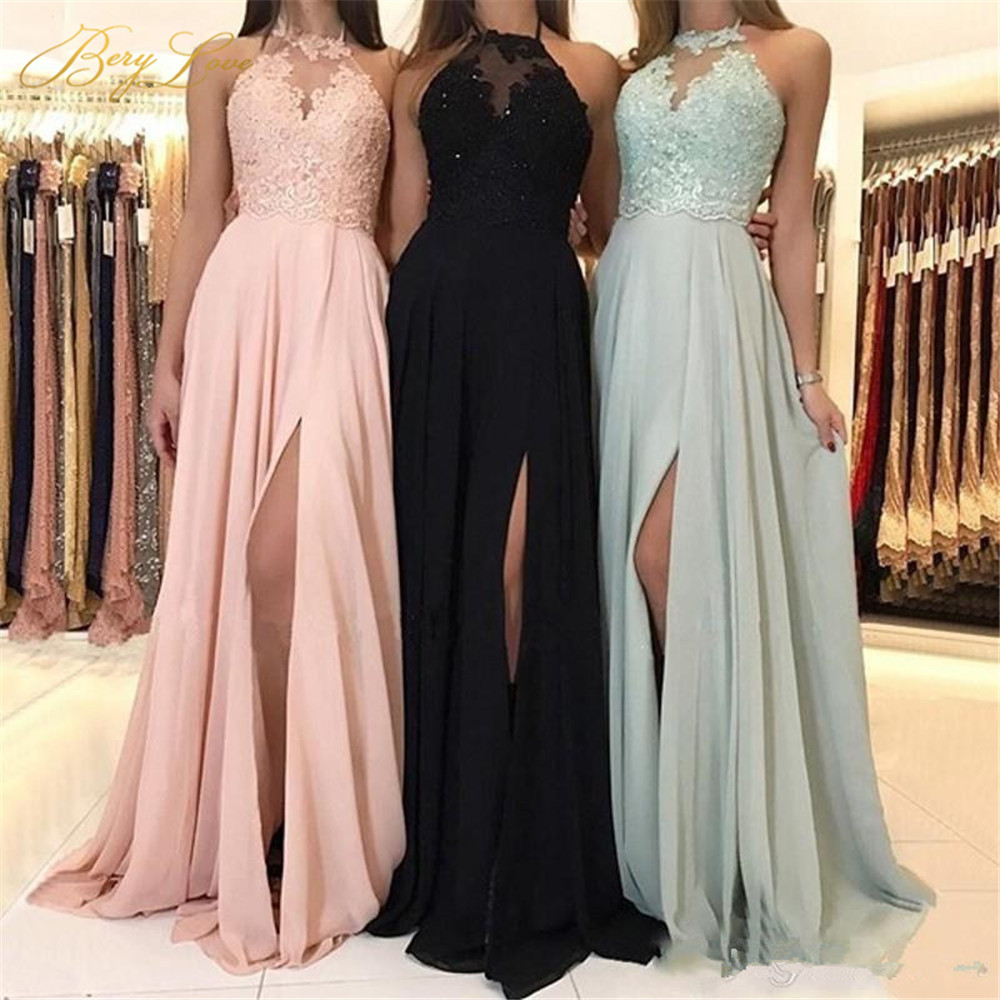 Sexy Halter Neck Long Bridesmaid Dresses 2019 Appliques Lace Slit Chiffon Bridal Group Maid Honor Dresses Weddings Guest Gown