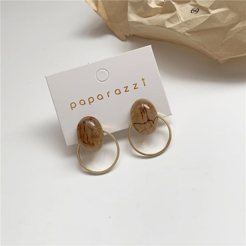 Resin Stud Earrings For Women Ciecle Temperament Korean Earring Charm Girl Fashion Jewelry Simple Ear