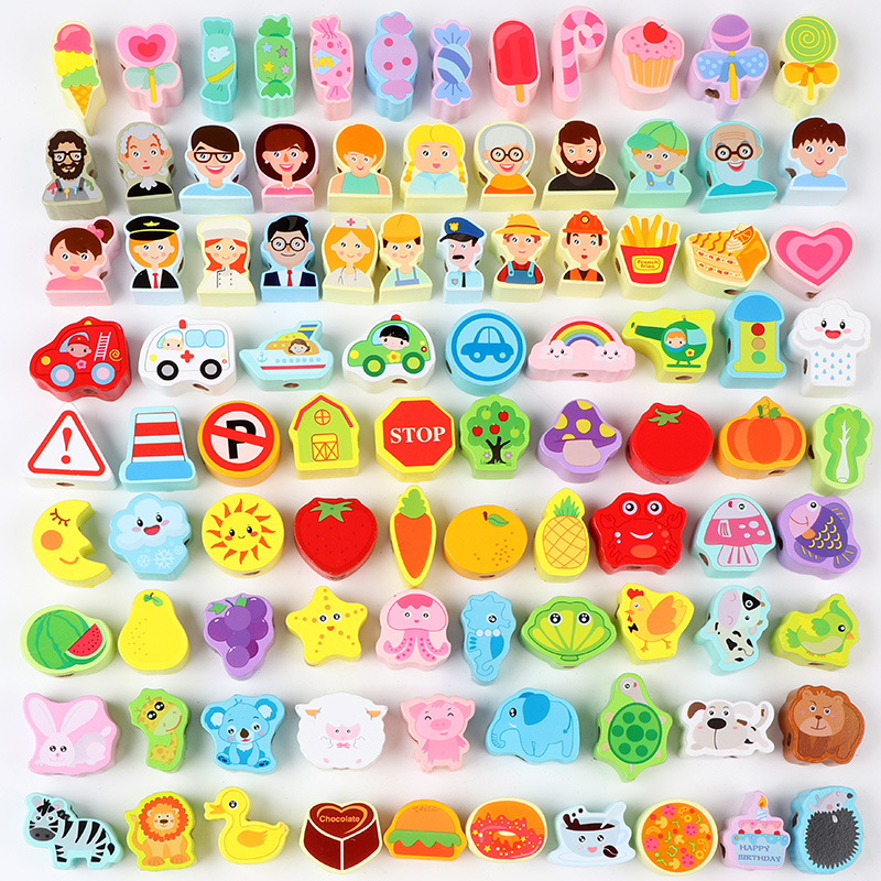 Children Early Education Wooden Building Blocks With Numbers Animal & Vegetable Chuan Chuan Zhu Training Hand-Eye Coordination E
