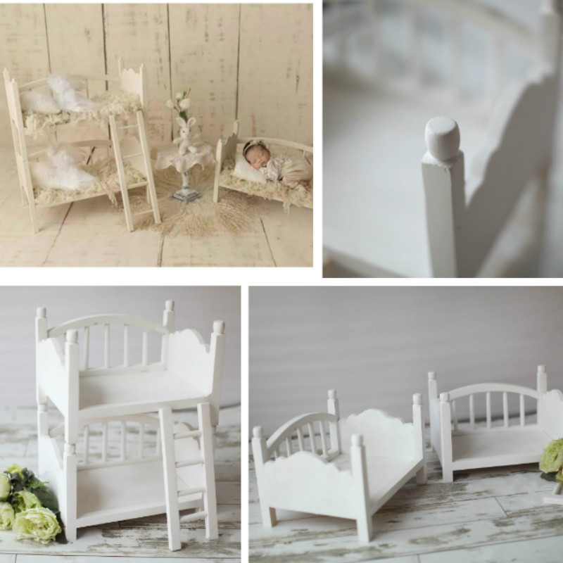 Newborn Photography Props Baby Photo Bed Wooden Double Bed With Ladder Stand Infantil Photo Shoot Props Twins Photo Posing Props