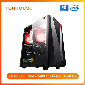 Funhouse Desktop Intel i3 9th 8100 Upgrade 9100F RX550 4G Gaming Card  D4 8G RAM 240G  For CSGO/LOL Computer Assemblly Gaming PC 1