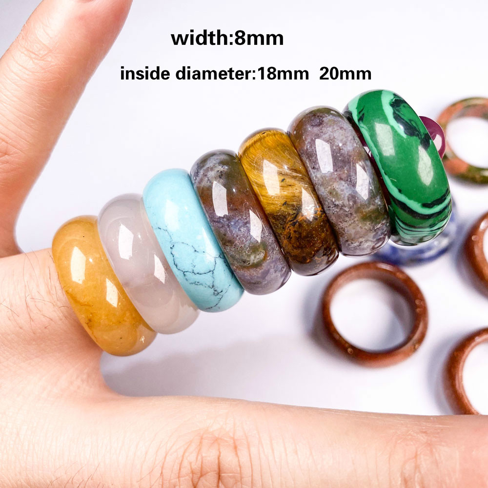 2020 Natural stone rings charm jewelry a diversity of stones two kinds of models trendy gift for women or girlfriend 8mm width