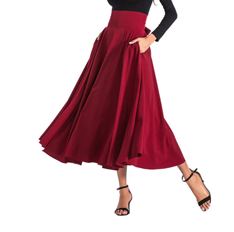 2020 New Fashion  Women Long Skirt Casual Spring  Summer Skirt womens Elegant Solid Bow-knot A-line Maxi Skirt Women Cothes (13)