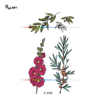 Wyuen Flower Rose Waterproof Temporary Tattoo Sticker for Adults Kids Body Art Women New Design Water Transfer Fake Tatoo P-108 2