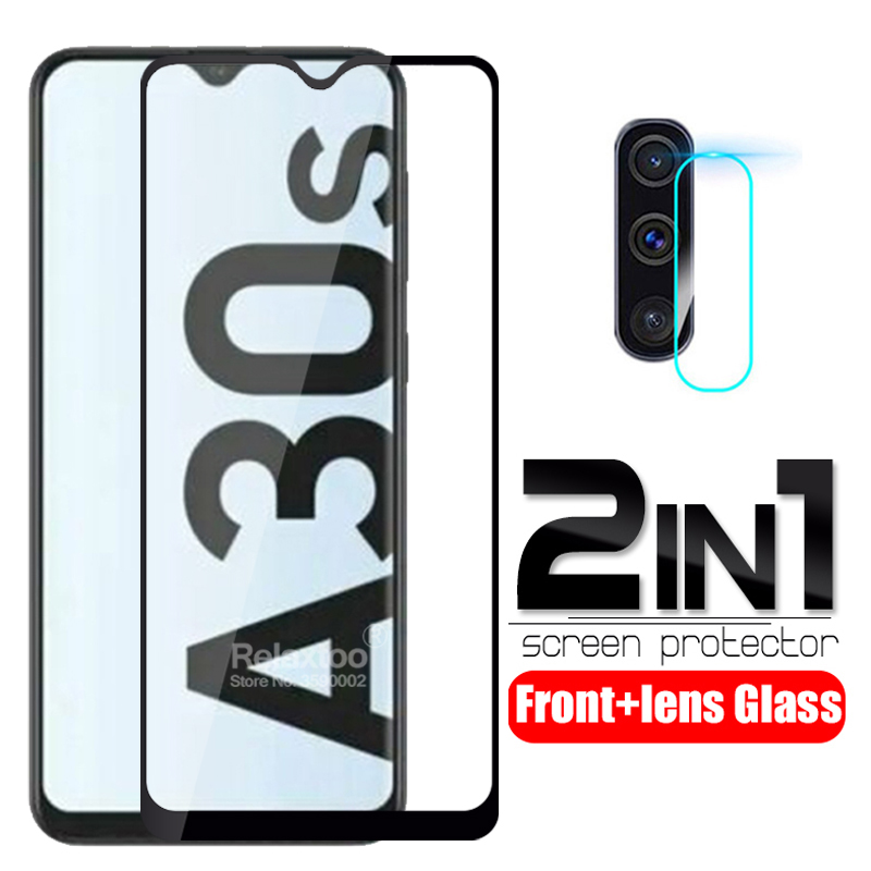 2 In 1 Camera Lens Tempered Glass For Samsung Galaxy A30s Protective Glas On Samsun S30s A 30s A307F Screen Protector Film Cover