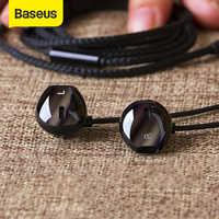 Baseus 6d estéreo in-ear fone de ouvido fones de ouvido com fio controle baixo fones de som para xiaomi 3.5mm tipo c