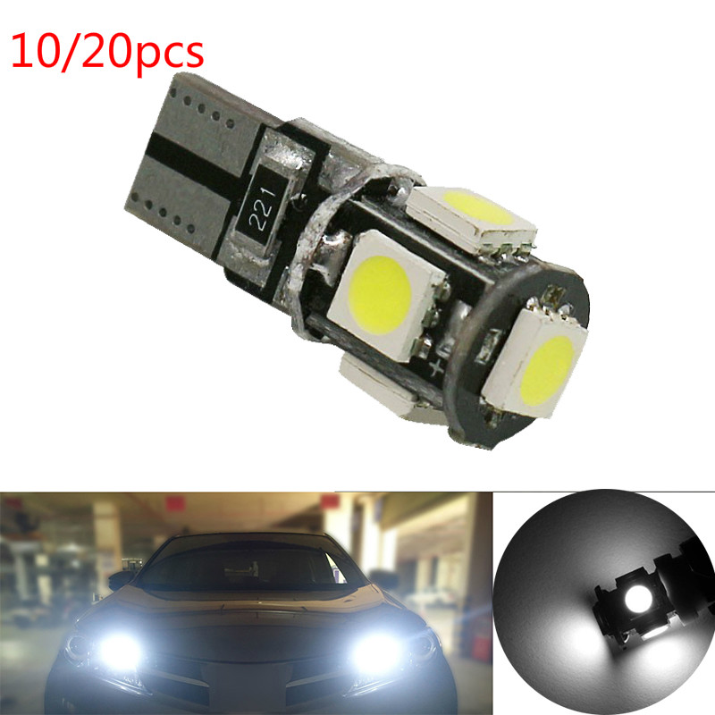 10/20pcs X T10 LED For Cars Bulbs 12V Interior Reading Light Wedge Side Lamp 5W5 LED White 5050 5SMD White Free Error