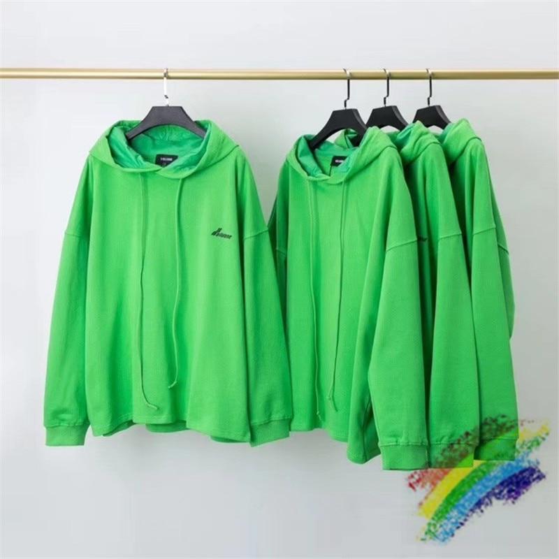 Onesized Green WE11DONE Hoodie Men Women WELLDONE Streetwear Pullover