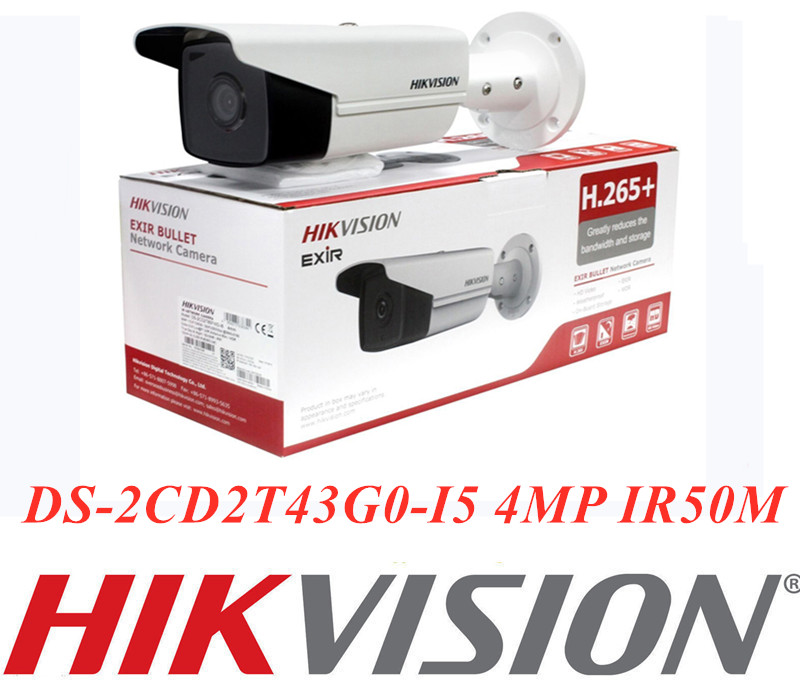 Hikvision original Internatioal Version DS-2CD2T43G0-I5 4MP IR50M Feste Kugel Netzwerk Kamera Hikivion IP Kamera