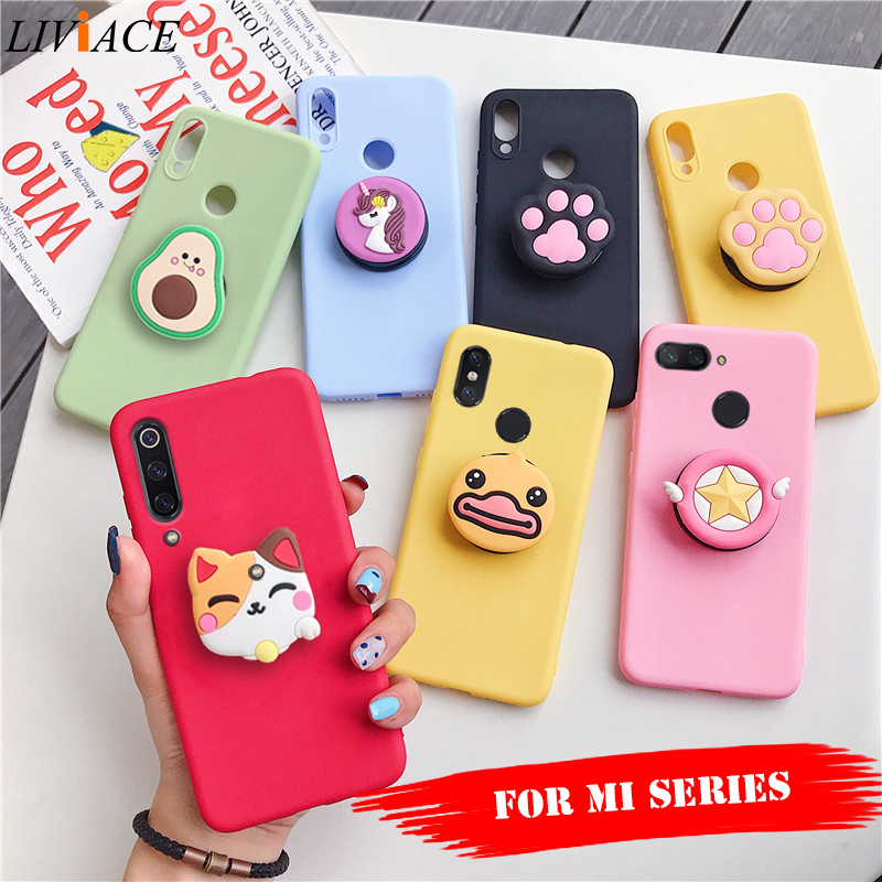 3D silicone cartoon phone holder case for xiaomi mi 9 mi9 se mi 8 lite mi8 a3 a2 a1 mix 2s 3 pocophone f1 9t cute stand cover(China)