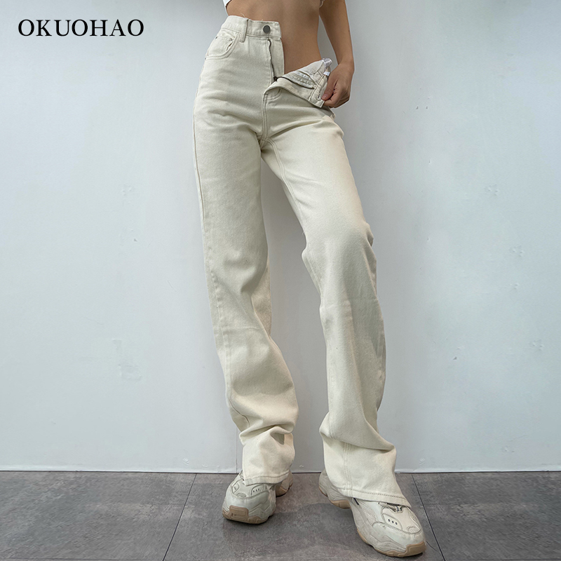 2021 Flared Jeans Women High Waist Mom Jeans Denim Trousers Female Streetwear White Vintage Clothes Boot Cut Wide Oversize Pants