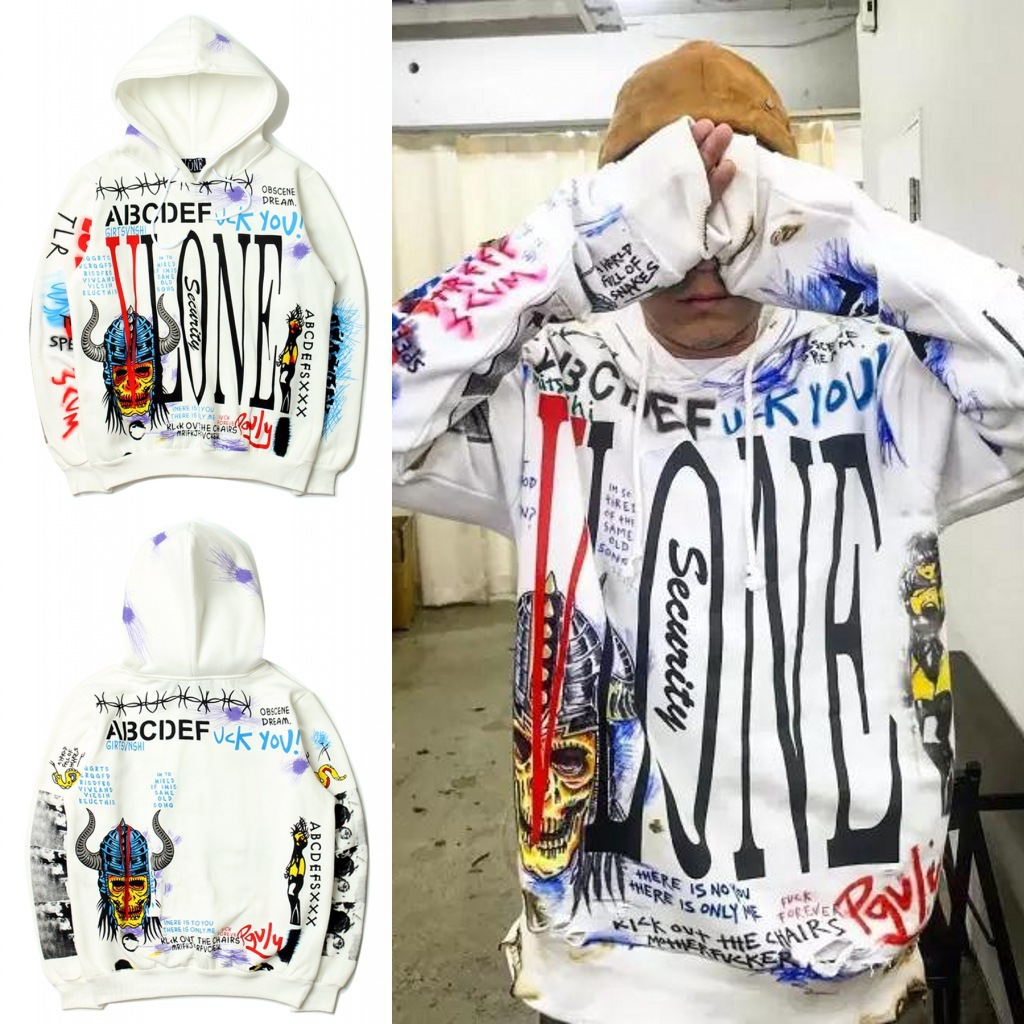 2018 Winter Hot Selling Europe And America Graffiti Hooded Pullover Hoody Purchasing Agents Popular Plus Velvet Hoodie Coat