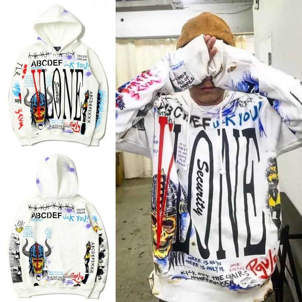 2018 Winter Hot Selling Europe And America Graffiti Hooded Pullover Hoody Purchasing Agents Popular Plus Velvet Hoodie Coat