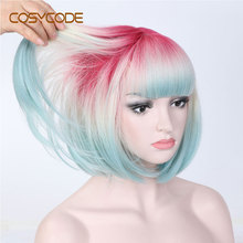 COSYCODE Ombre 3 Tone Bob Wig with Bangs 12 inch Short Straight Synthetic Wig for Women Pink Beige Blue 3 Colors Mixed Cosplay