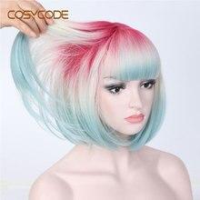 COSYCODE Ombre 3 Tone Bob peruka z grzywką 12 cal krótki prosto peruka syntetyczna dla kobiet różowy beżowy niebieski 3 kolory mieszane Cosplay