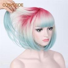 COSYCODE Ombre 3 ton Bob kahküllü peruk 12 inç kısa düz sentetik peruk kadınlar için pembe bej mavi 3 renk karışık cosplay