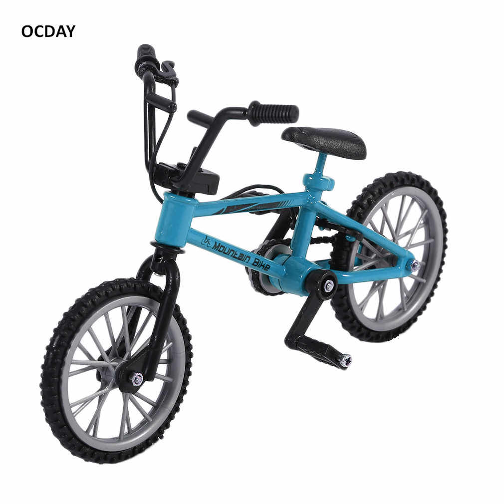 OCDAY Fingerboard bicycle Toys With Brake Rope Blue Simulation Alloy Finger bmx Bike Children Gift Mini Size New Sale