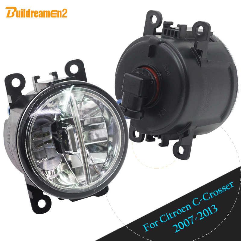 Buildreamen2 Citroen c-crosser için 2007-2013 araba ön LED ampul sis lambası gündüz çalışan işık DRL beyaz 12V Styling