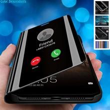 Funda de teléfono con tapa de espejo para Samsung A50 A 50, cubierta trasera de cuero para Galaxy A10, A20, A30, A40, A60, A70, A80, A90, M10, M20, M30, A505F