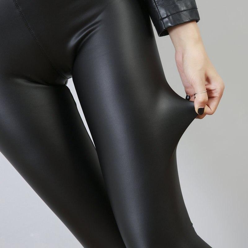 Зимние теплые флисовые Леггинсы пуш-ап размера плюс женские брюки плюс бархатные одноцветные женские штаны из искусственной кожи с