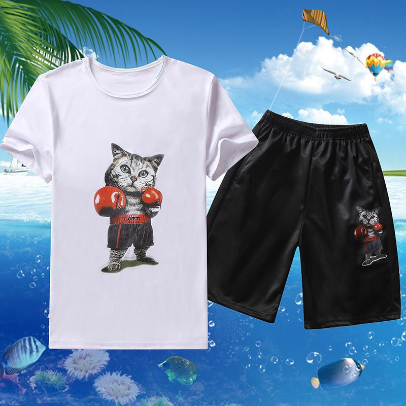 Men Summer Short Sleeve T-shirt Suit Korean-style Trend Slim Fit Casual Men'S Wear Half Sleeve Two-Piece Set Teenager Clothes