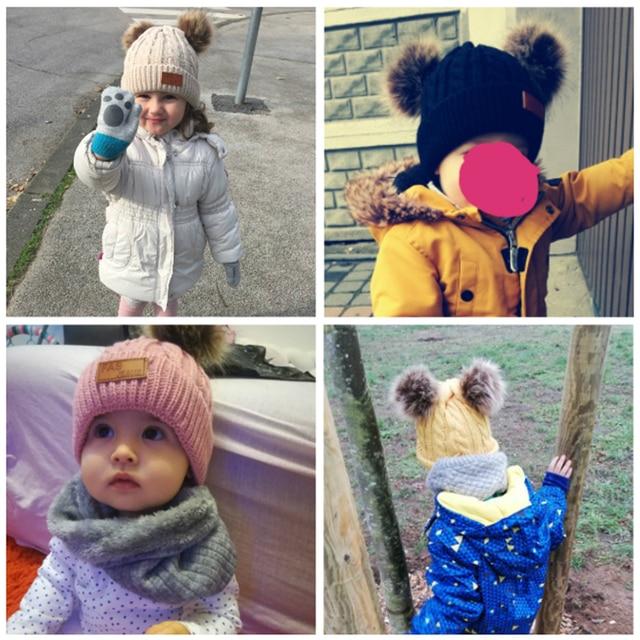 Winter Hat For Girls Baby Boys Pom Poms Hat Children Knitted Hats 5