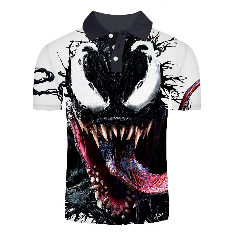 2019 New Men Polo Shirt Fashions Polo Shirt Men Movie Venom 3D Print Short Sleeve Summer Shirt Polos Casual Mens Clothing