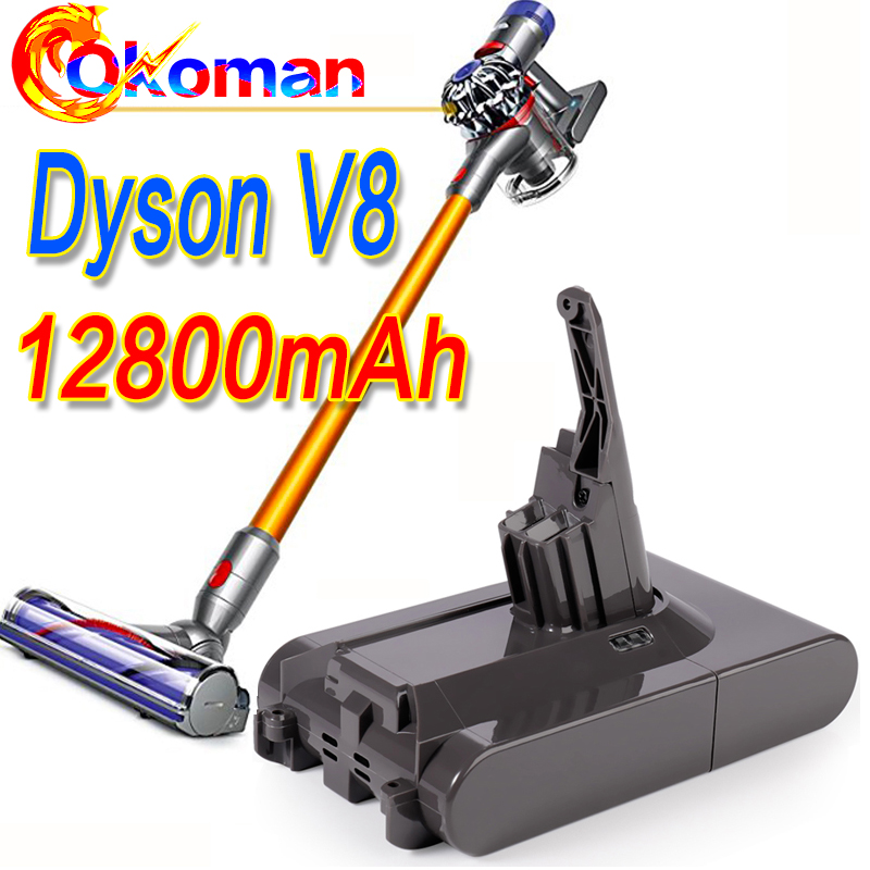 US $19.31 32% OFF|12800mAh 21.6V Battery For Dyson V8 Battery for Dyson V8 Absolute FluffyAnimal Li ion Vacuum Cleaner rechargeable