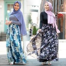 Skirt Muslim Fashion Women's Flower Chiffon Floral Print WEPBEL Ankle-Length High-Waist