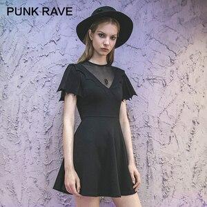 Punk rave menina gótico morcego asas mangas curtas cintura a linha pouco vestido preto punk verão sexy clube vestido feminino