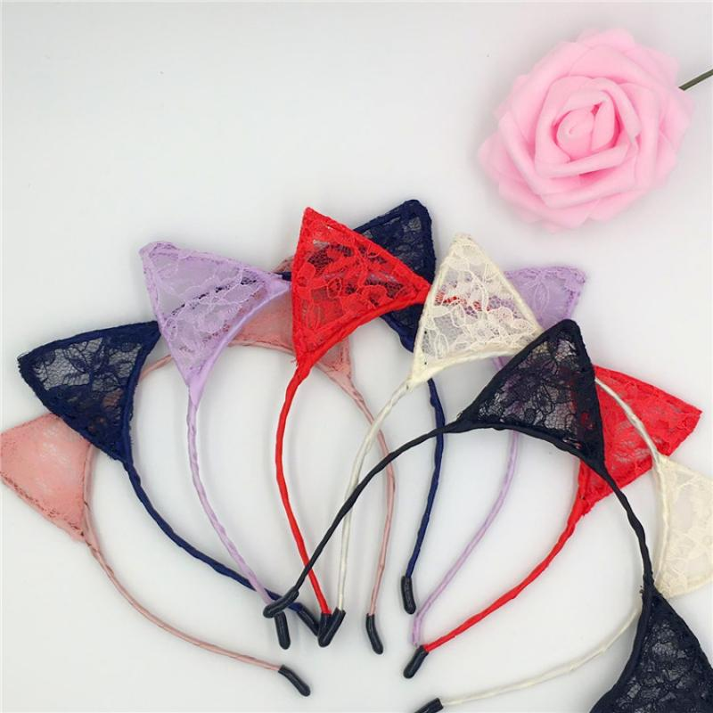 1PC Girls Red Lovely Cat Ear Head Chain Jewelry Holiday Polyester Headband Hair Accessories Lace Women Sexy Hair Accessories