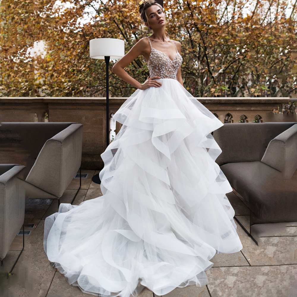 Eightree Princess Wedding Dress 2020 Tiered Sexy Backless Organza Wedding Gown Backless Boho Bride Dresses Vestido De Noiva
