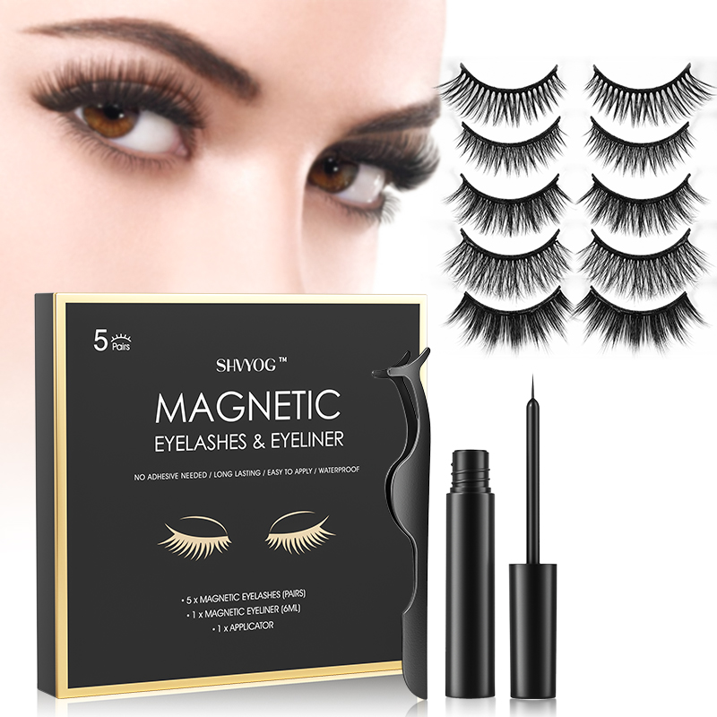 SHVYOG 5 Pairs Magnetic Eyelashes Set Magnetic Liquid Eyeliner Natural Longer Eyelashes Makeup Eyes Extension Set
