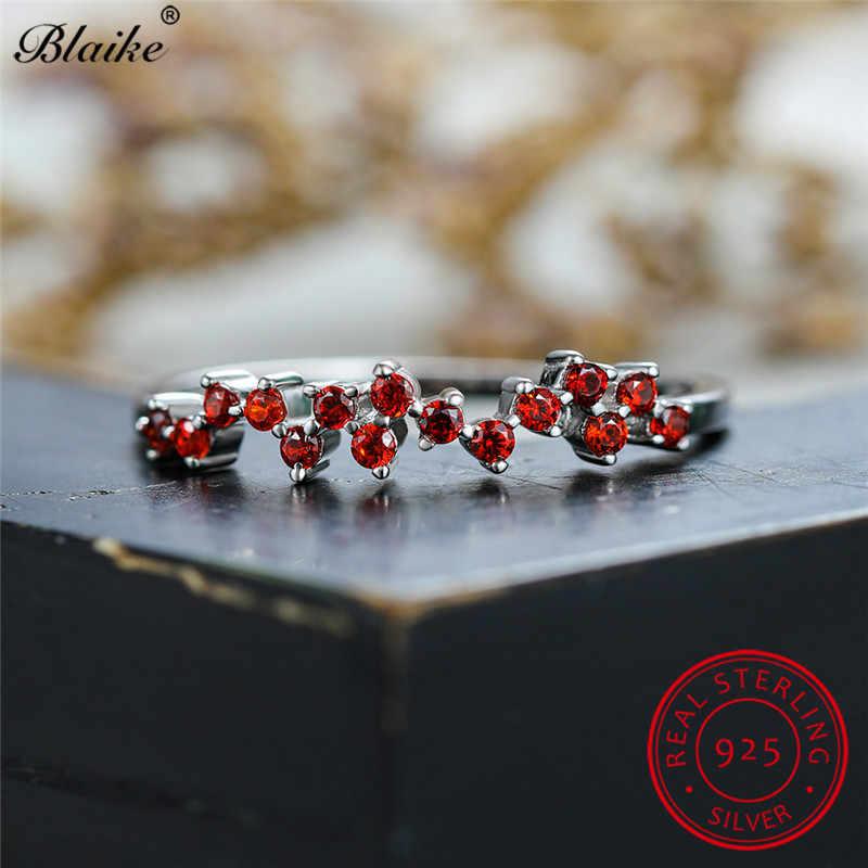 ミニマリスト 925 スターリングシルバーリング女性用薄型リングバンド珍味小さな黒赤ジルコン婚約積層したリングジュエリー