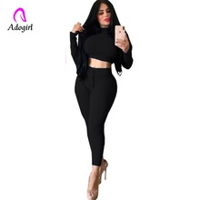 Adogirl Burgundy Turtleneck Rib-knit Skinny Crop Top and Leggings Two Piece Sets Women Autumn Casual Streetwear Pants Set Suits недорого