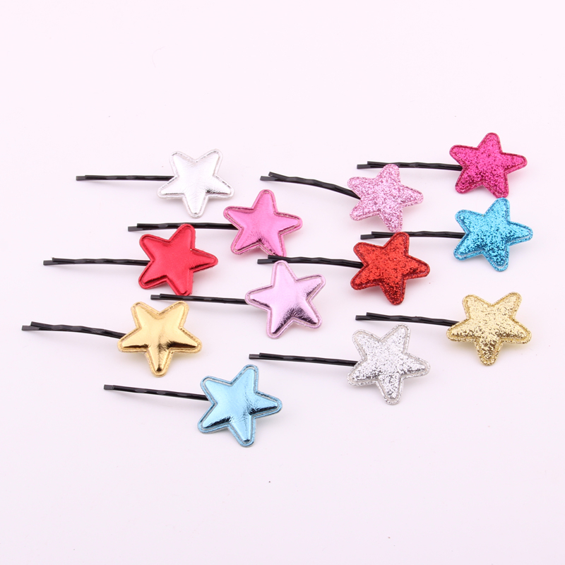 Charming Hairpin For Girl Brilliant Star Hair Clips Cute Solid Pu Leather Five Point Start Bobby Pin Fabics Headwear Accessories in Hair Accessories from Mother Kids