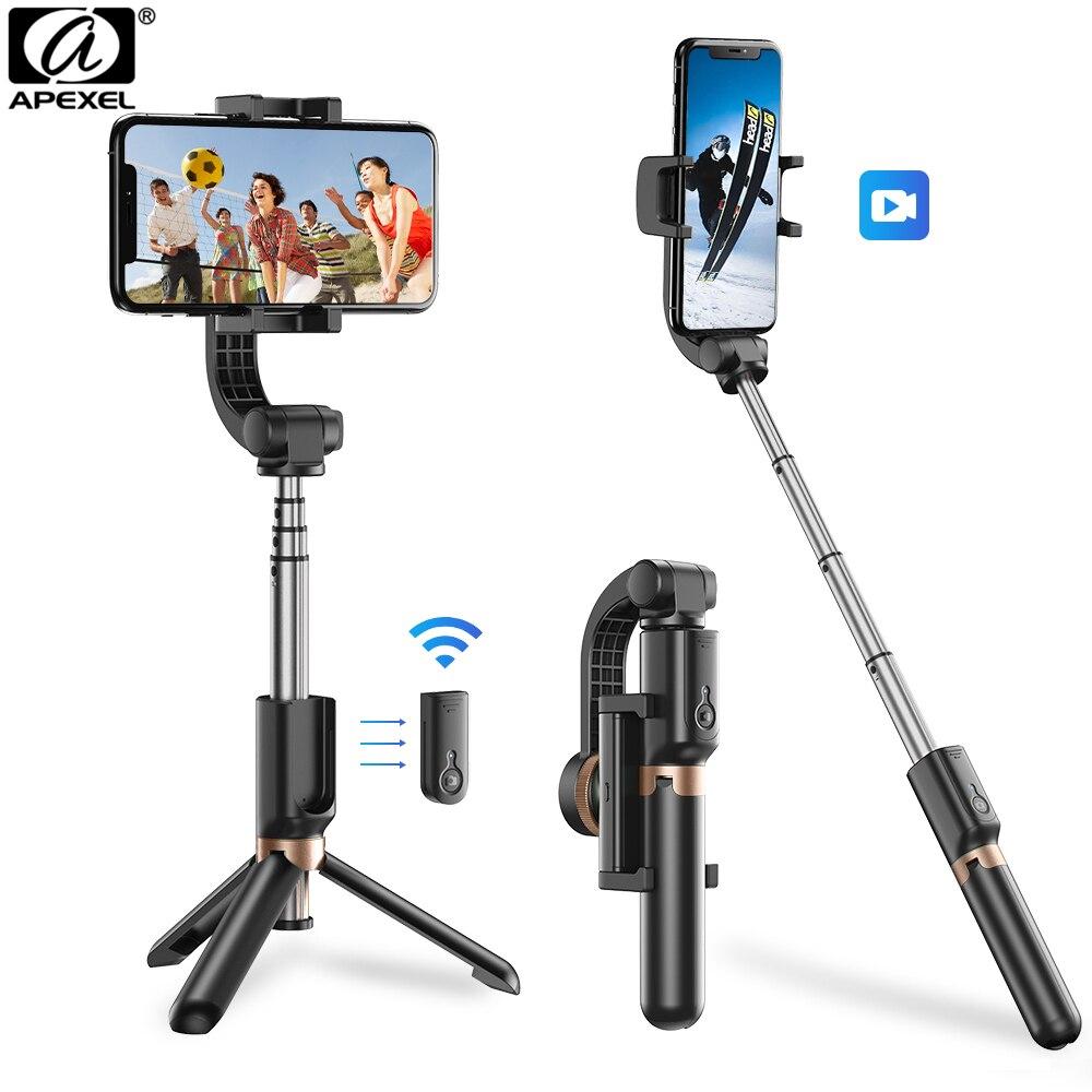 APEXEL Selfie Stick Stabilisator Phone Handheld Stativ Flexible 360 Rotation 3 modi mit fernbedienung für iPhone Samsung PTZ Action Cam