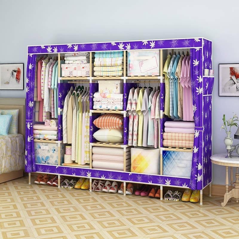 Simple Modern Economy Wardrobe Assembly Cloth Wardrobe Oxford Fabric Solid Wood Wardrobe Storage Cabinet