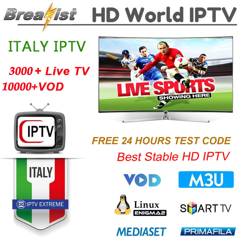 1 an Italia IPTV pour Android TV Box 5000 + vit 7000 VOD support Spainish Germen italie abonnement m3u smart TV MEDIASET h96