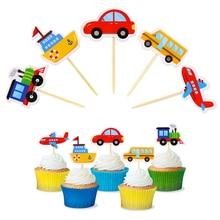 10 Uds., Topper de pastel, coche de dibujos animados, pastel de transporte, fruta, comida decorativa, palillos, Cupcake, Toppers, niños, cumpleaños, boda, fiesta, favores