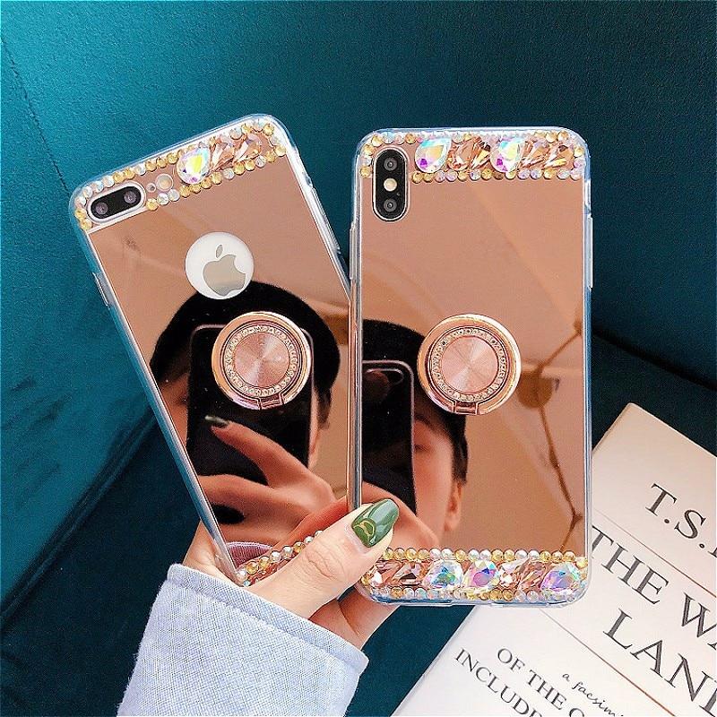 Diamond Glitter Bling Soft Mirror Ring Holder Phone Case For Xiaomi mi 9 8 SE Lite 6 5X 6X A2 MAX2 MAX3 MIX3 Cover Case Shell